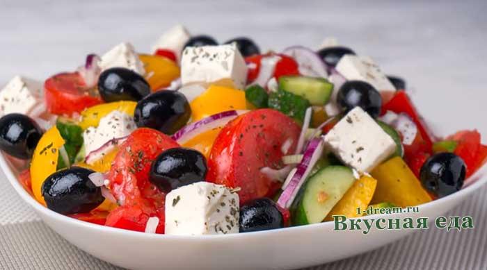 Греческий салат-классический рецепт с фото