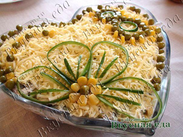 Рецепт салата из куриного мяса сыра и грибов