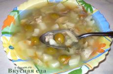 Суп куриный с вермишелью и оливками