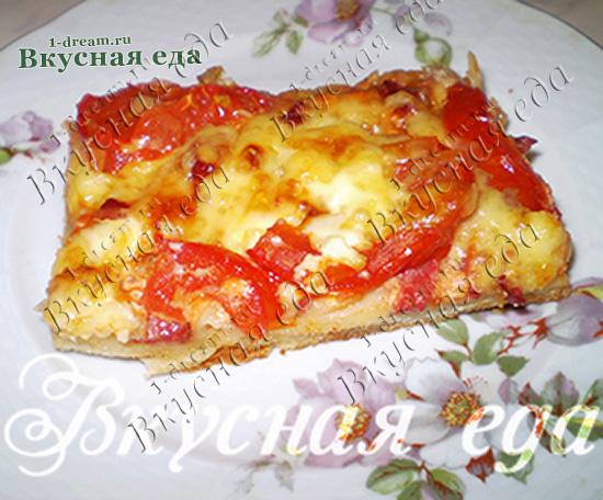 Пицца на дрожжевом тесте с колбасой и сыром