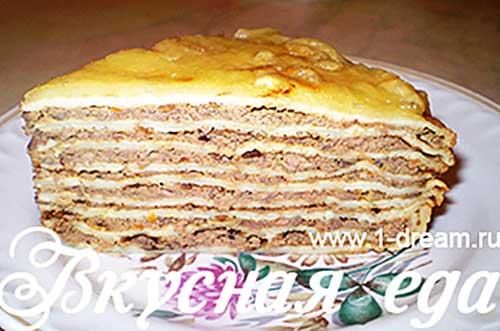 Блинный торт с куриной печенкой