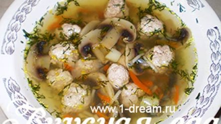 Суп с шампиньонами и фрикадельками-рецепт с фото