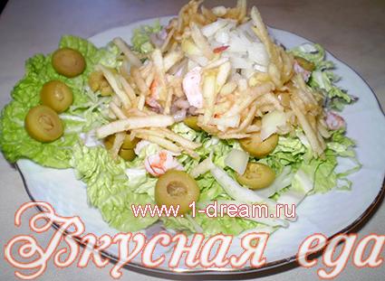 Яблоки для салата с креветками без майонеза
