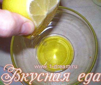 лимонный сок для заправки салата из креветок