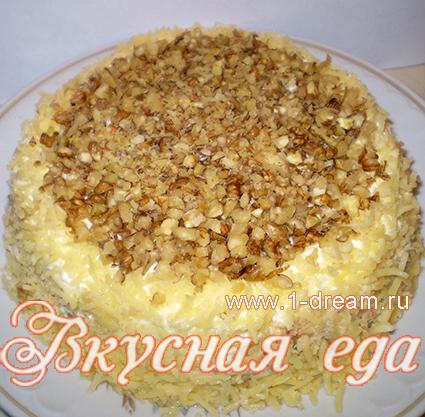 салат с курицей ананасами и грецкими орехами