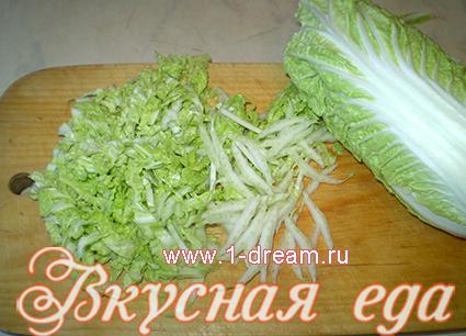 Порезать пекинскую капусту