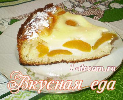 Вкусный кусочек заливного пирога с абрикосами