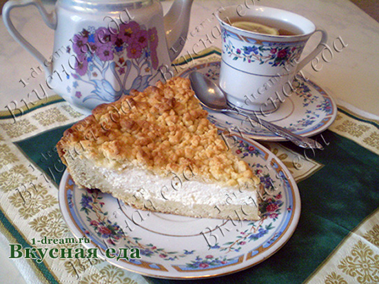 Рецепт песочного пирога с творогом
