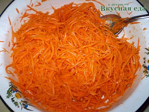 Салат корейская морковь перемешать