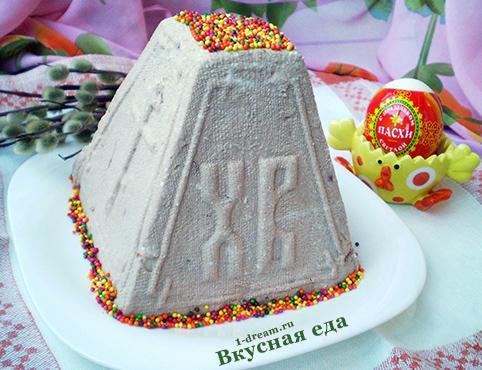 Пасха творожная с шоколадом и орехами