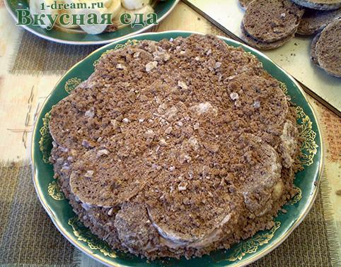 Второй слой шоколадного торта без выпечки