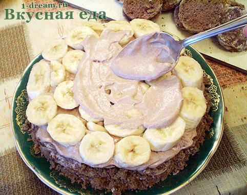 Бананы для шоколадного торта без выпечки