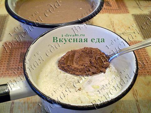 Положить какао в заварной крем