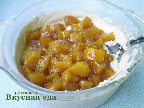 Персики в тесте для пирога