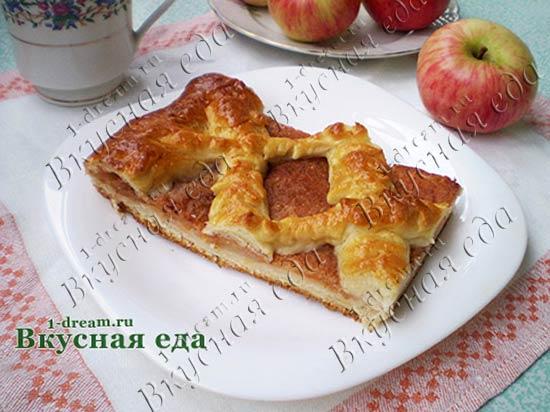 Дрожжевой пирог с яблоками - открытый пирог с яблоками - Вкусная еда