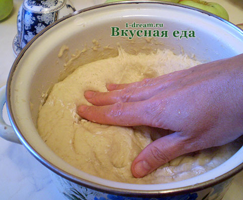 Примять дрожжевое тесто