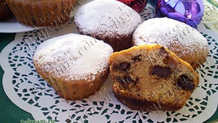 Нежный кекс на ряженке с шоколадом и орехами