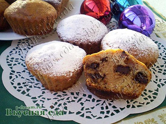 Кекс с шоколадом и орехами