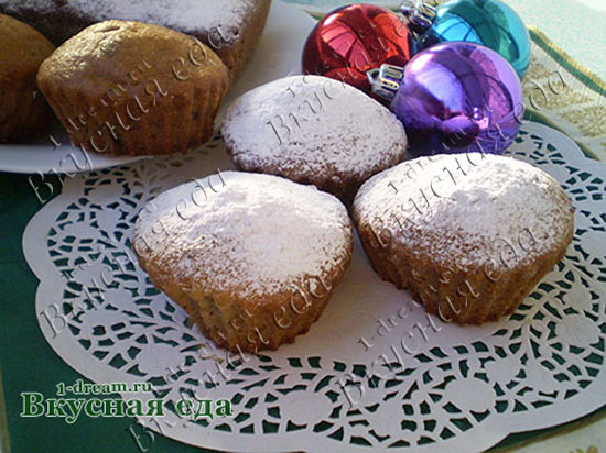 Кекс с шоколадом и орехами готов