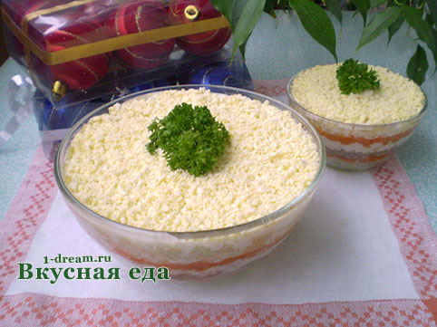 Салат мимоза с сайрой фото