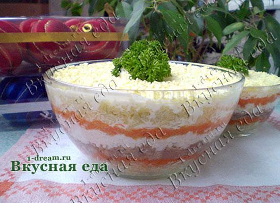 Салат мимоза с сайрой