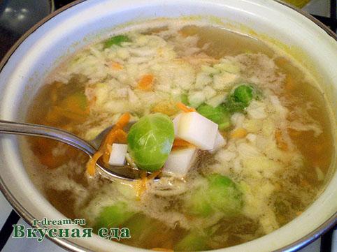 Положить картошку в суп сиз брюссельской капусты