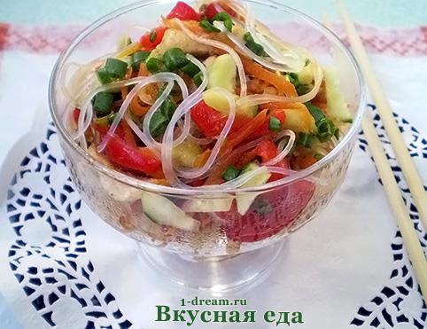 Рецепт салата с фунчозой и курицей