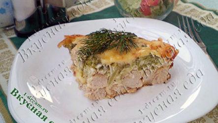 Запеканка из курицы с брокколи со сливочной заливкой