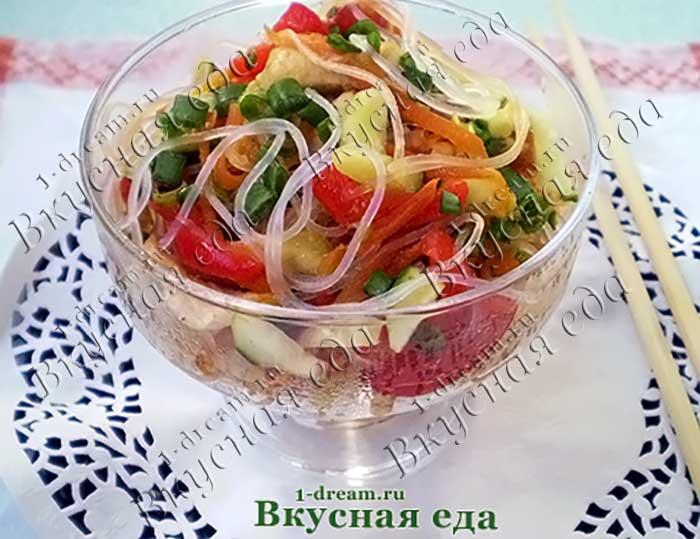Рецепт салата с фунчозой и курицей с болгарским пецрем