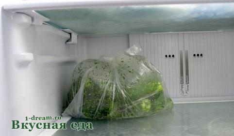 Малосольные огурцы в пакете в холодильнике