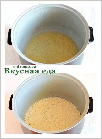 Варим рис для запеканки из кабачков