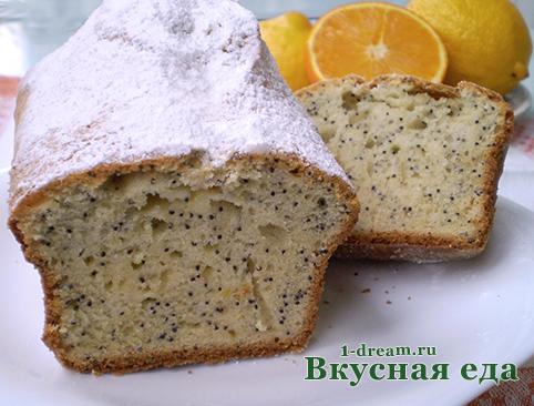 Сахарная пудра - Кекс лимонный с маком
