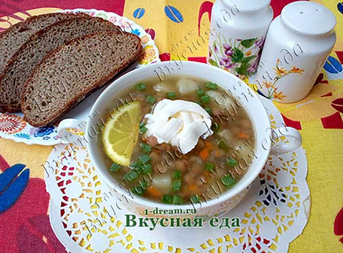 Суп из зеленой чечевицы-рецепт с фото