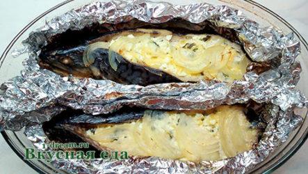Скумбрия фаршированная яйцом и сыром