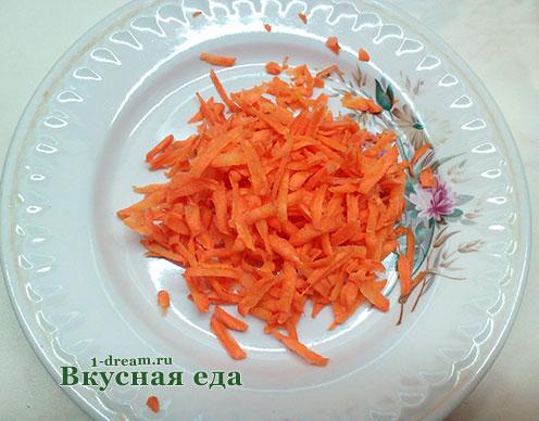 Морковь на терке для супа с брокколи