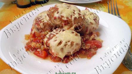 Тефтели в томатном соусе, запеченные с сыром в духовке