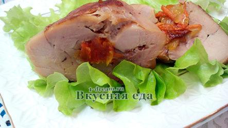 Куриные ножки, фаршированные курагой и овощами-рецепт с фото