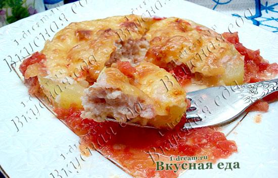Кабачок с мясом запеченный в духовке с сыром