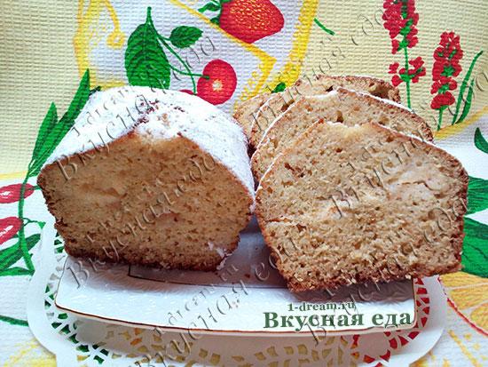 Кекс на кефире с яблоками