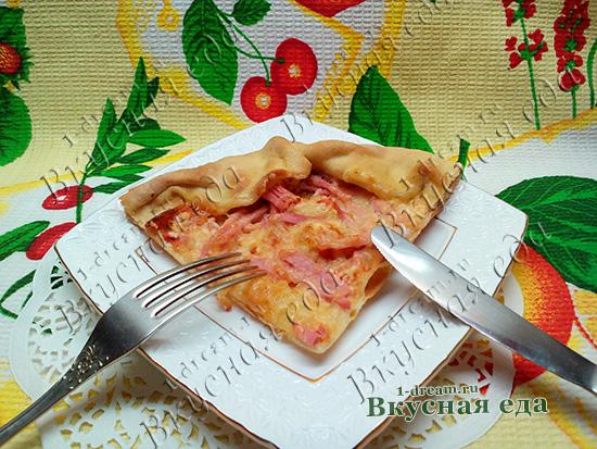 Пицца на тонком тесте без дрожжей