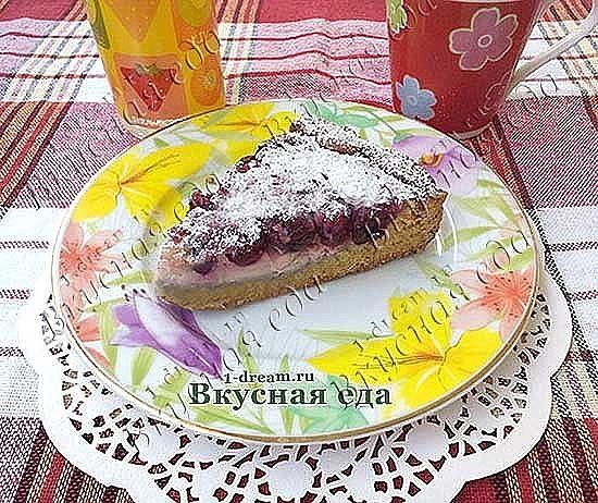 Рецепт пирога с вишней в заливке