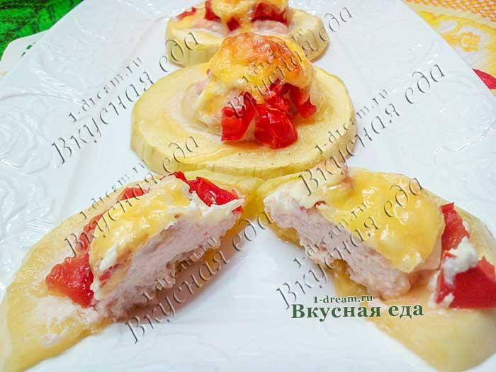Кабачок с куриным фаршем в духовке-рецепт с фото