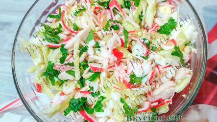 Сочный крабовый салат с огурцами-рецепт с фото