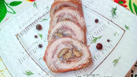 Куриный рулет с грецкими орехами-рецепт с фото