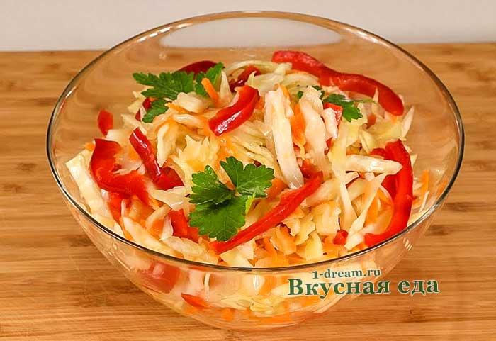 Маринованная капуста с болгарским перцем-рецепт с фото