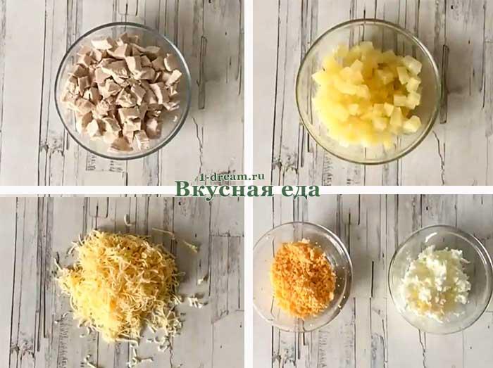Приготовление салат а с копченой курицей и ананасами слоями