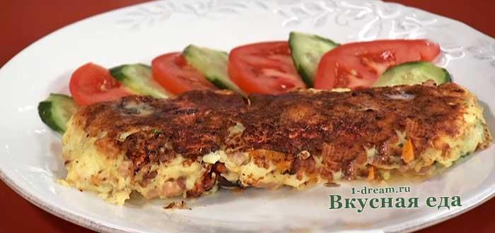 Омлет с ветчиной на сковороде-рецепт с фото