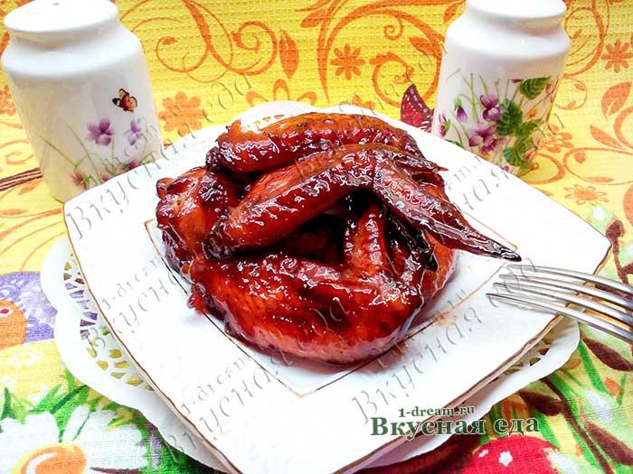 Крылышки куриные в медово-соевом соусе-рецепт с фото