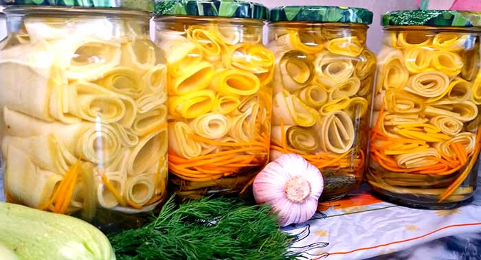 Кабачки рулетиками маринованные на зиму -рецепт с фото