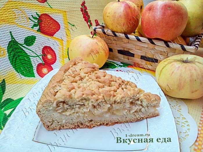 Рецепт тертого песочного пирога с яблоками